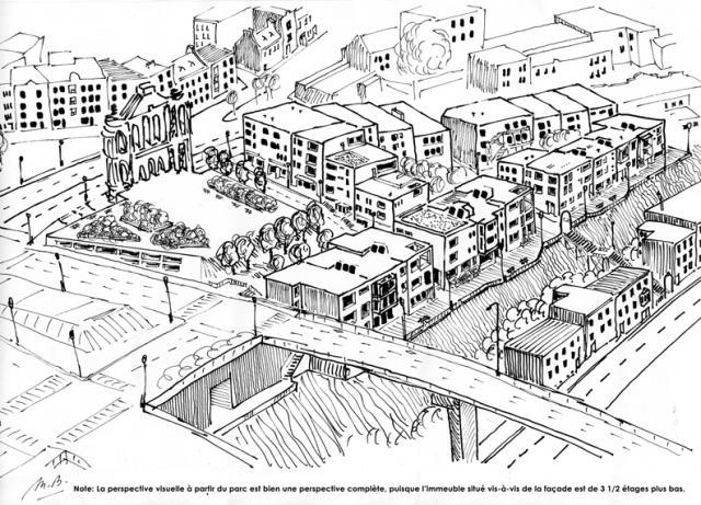 Esquisse d'un aménagement différent du site (par Marc Boutin)