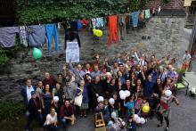 Les membres et leurs invités réunis le 17 septembre pour souligner le 40e anniversaire de la coopérative d'habitation du Faux-Bourg. Photo : courtoisie.